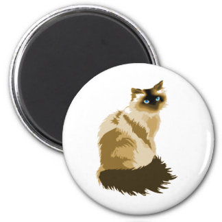 Gato de pelo largo elegante imán redondo 5 cm