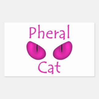 Gato de Pheral (ojos del rosa) Pegatina Rectangular