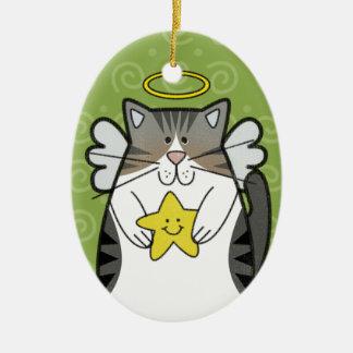 Gato de plata del ángel del Tabby con el ornamento Adorno De Reyes