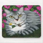 Gato de plata Mousepad del jardín del gato de Tabb Tapete De Raton
