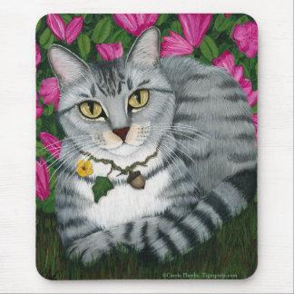 Gato de plata Mousepad del jardín del gato de Tapete De Raton