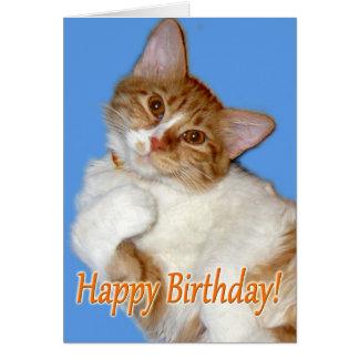 Gato de presentación lindo - general del cumpleaño tarjeta de felicitación