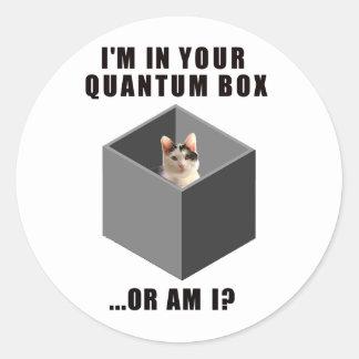 Gato de Quantum Pegatina Redonda