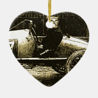 Gato de Racecar Adorno Navideño De Cerámica En Forma De Corazón