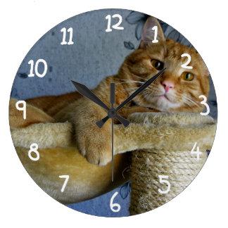Gato de relajación reloj redondo grande