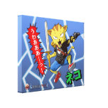 Gato de salto del animado con el arma y espada y r impresiones en lienzo estiradas