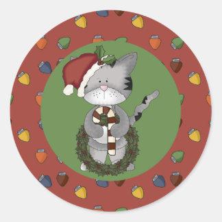 Gato de Santa con el bastón y la guirnalda de cara Etiqueta Redonda