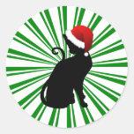 Gato de Santa con las rayas verdes Etiqueta
