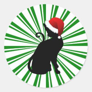 Gato de Santa con las rayas verdes Pegatina Redonda