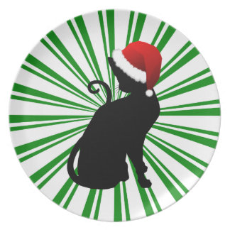 Gato de Santa con las rayas verdes Plato De Cena