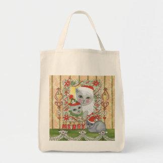 Gato de Santa del navidad del vintage con el Bolsas