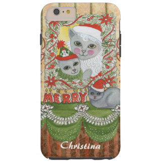 Gato de Santa del navidad del vintage con el Funda De iPhone 6 Plus Tough