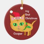 Gato de Santa del navidad/ornamento de encargo del Adorno