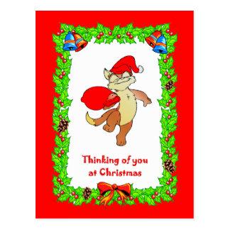 Gato de Santa del navidad Postal