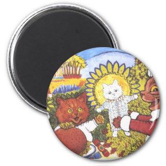 Gato de Santa e ilustraciones de los amigos de Lou Imán Redondo 5 Cm