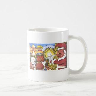 Gato de Santa e ilustraciones de los amigos de Taza De Café