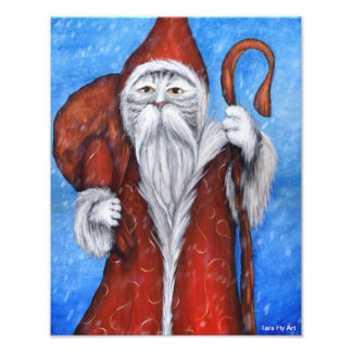 Gato de Santa, tarjeta de Navidad del gatito de Sa Foto