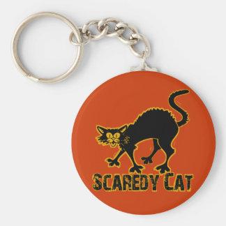 Gato de Scaredy Llavero Redondo Tipo Pin
