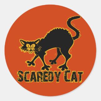 Gato de Scaredy Pegatina Redonda