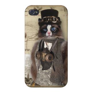 Gato de Steampunk iPhone 4/4S Carcasa