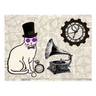 Gato de Steampunk Tarjetas Postales