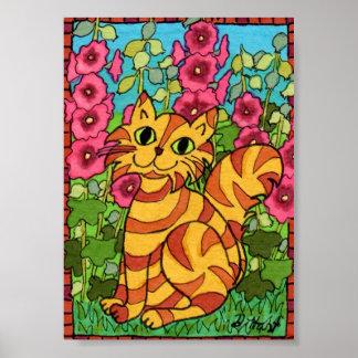 Gato de Tabby anaranjado con mini arte popular de Póster