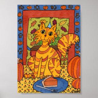 Gato de Tabby anaranjado con mini arte popular del
