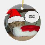 Gato de Tabby anaranjado del navidad Adorno Redondo De Cerámica