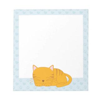 Gato de Tabby anaranjado el dormir Libreta Para Notas