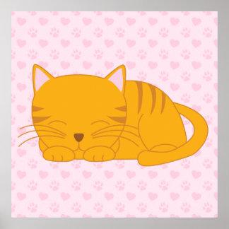 Gato de Tabby anaranjado el dormir Póster