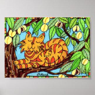 Gato de Tabby anaranjado en arte popular del árbol Póster