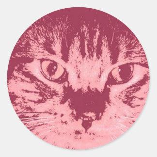Gato de Tabby anaranjado Etiquetas Redondas