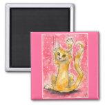 Gato de tabby anaranjado, imán rosado
