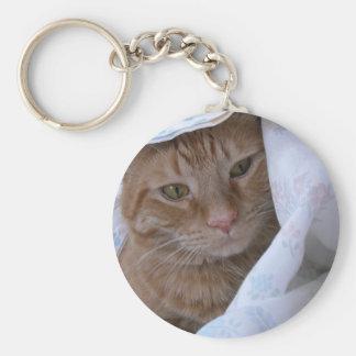 Gato de Tabby anaranjado Llavero Redondo Tipo Pin