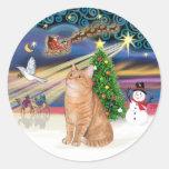 Gato de Tabby anaranjado - navidad mágico Pegatina Redonda