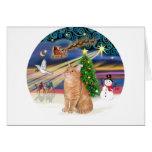 Gato de Tabby anaranjado - navidad mágico Felicitacion