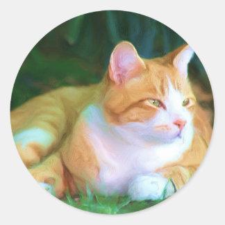 Gato de Tabby anaranjado Pegatina Redonda