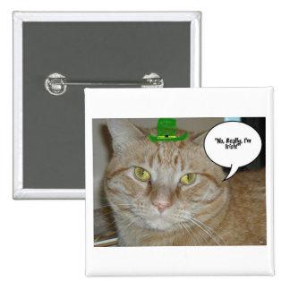 Gato de Tabby anaranjado Pin Cuadrado