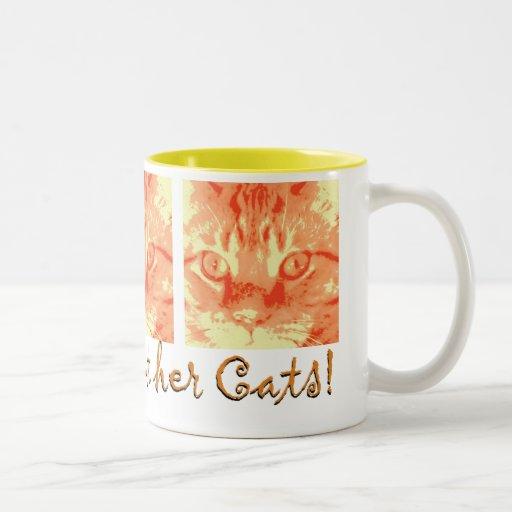 Gato de Tabby anaranjado Taza Dos Tonos