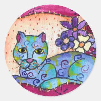 Gato de Tabby azul Pegatina Redonda