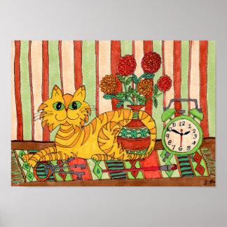 Gato de Tabby con arte popular de los objetos al Póster