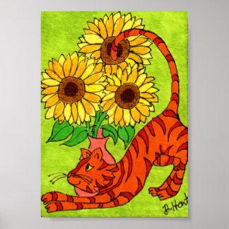 Gato de Tabby con el florero de mini arte popular Póster
