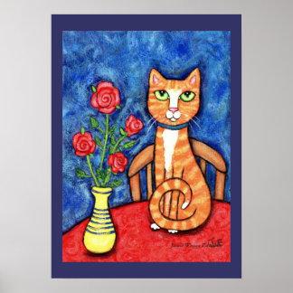 Gato de Tabby con la impresión del arte de los ros Póster