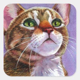 Gato de Tabby curioso en acuarela Pegatina Cuadrada