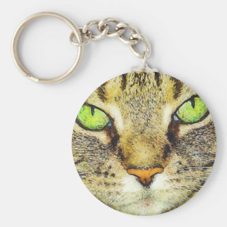 Gato de Tabby de ojos verdes Llavero Redondo Tipo Pin
