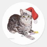Gato de Tabby de Shorthair del americano - navidad Pegatina Redonda