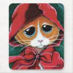 Gato de Tabby del jengibre del Caperucita Rojo el  Alfombrilla De Ratón