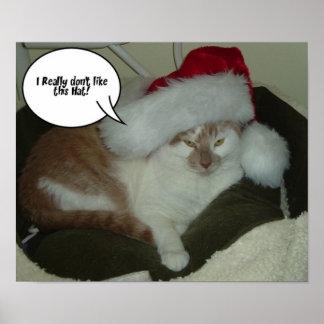 Gato de Tabby del navidad Póster