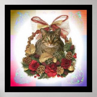 Gato de Tabby en cesta del navidad Póster