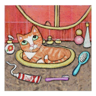 Gato de Tabby en el fregadero del cuarto de baño Póster